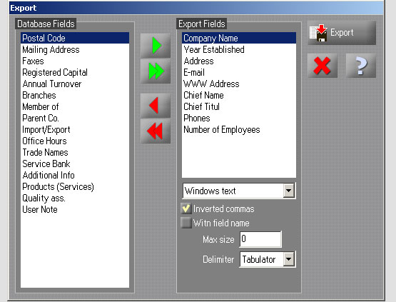 export company profiles